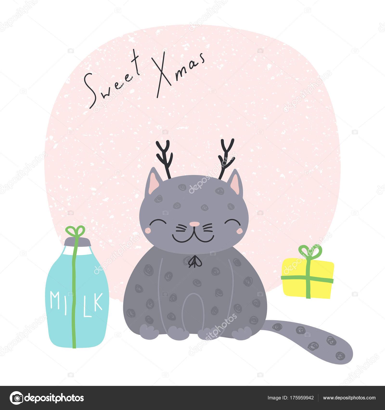 Biglietto di auguri di natale con il gatto dei cartoni animati