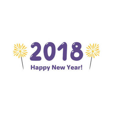 Hand drawn Happy New Year 2018 greeting card with numbers and sparklers, Design concept for party, celebration