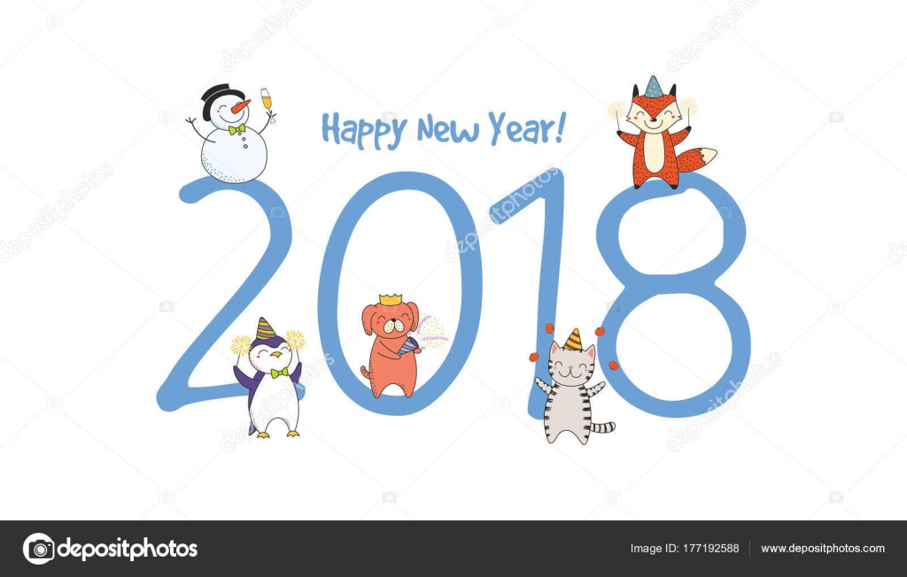 Hand Drawn Happy New Year 2018 Greeting Card Cute Funny