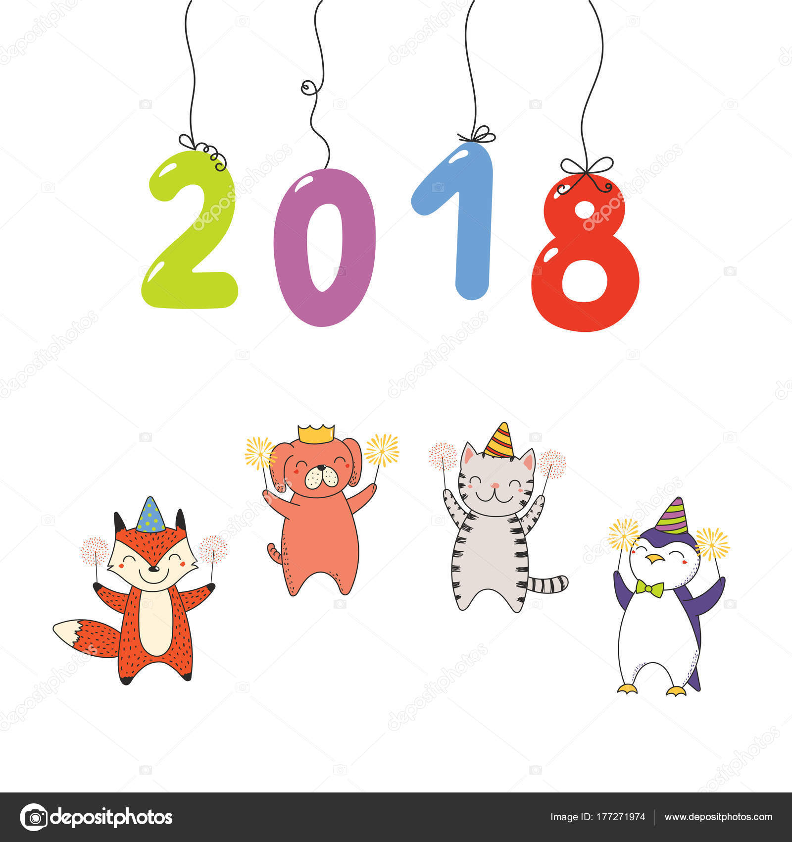 Hand Drawn New Year 2018 Greeting Card Numbers Hanging