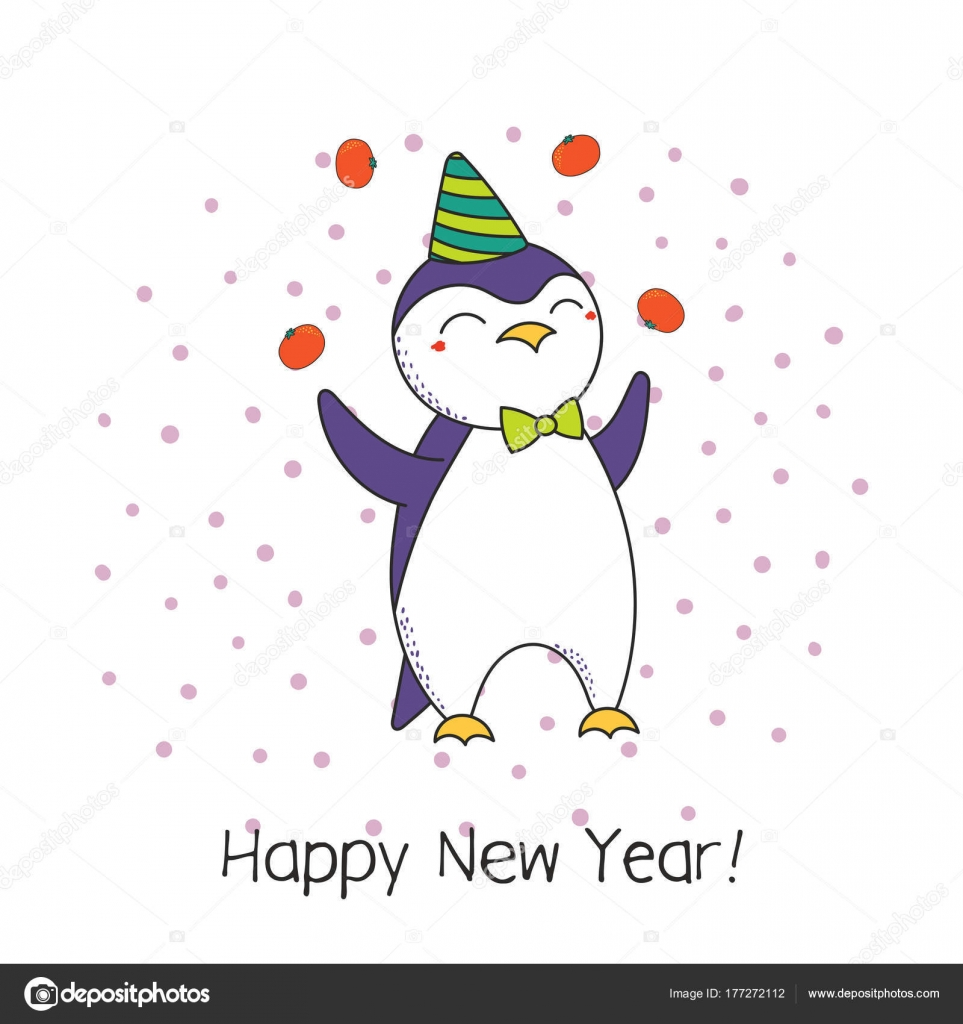 Hand drawn happy new year greeting card cute funny cartoon stock hand drawn happy new year greeting card cute funny cartoon stock vector m4hsunfo