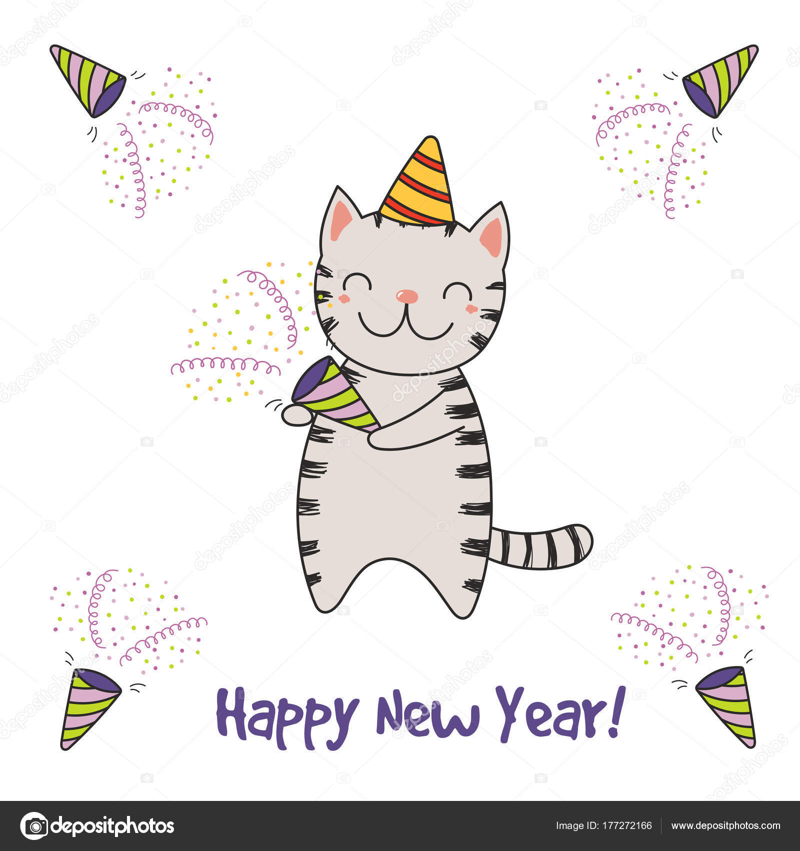 Hand Drawn Happy New Year Greeting Card Cute Funny Cartoon — Stock ...
