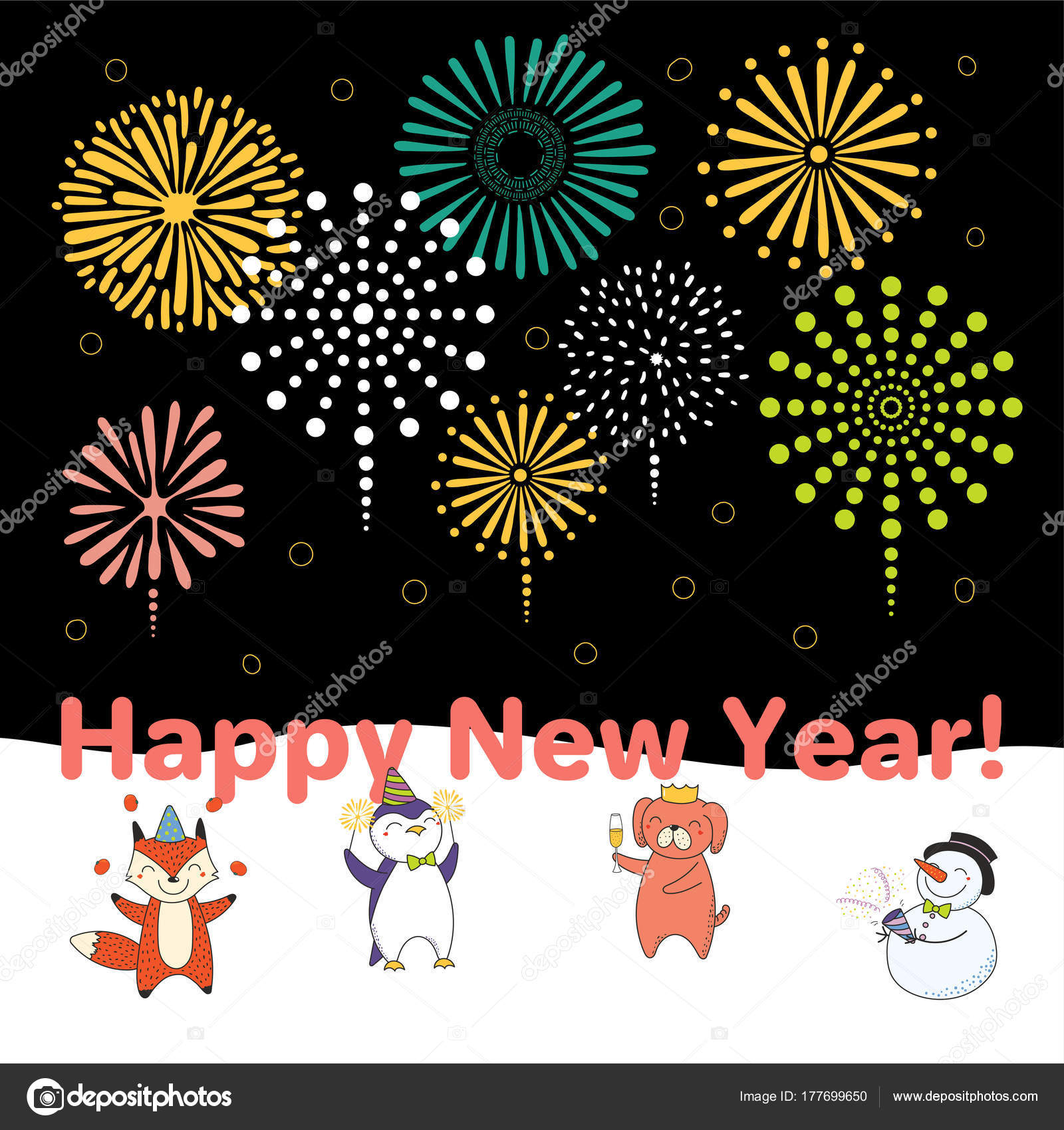 hand drawn happy new year 2018 greeting card cute funny stock vector