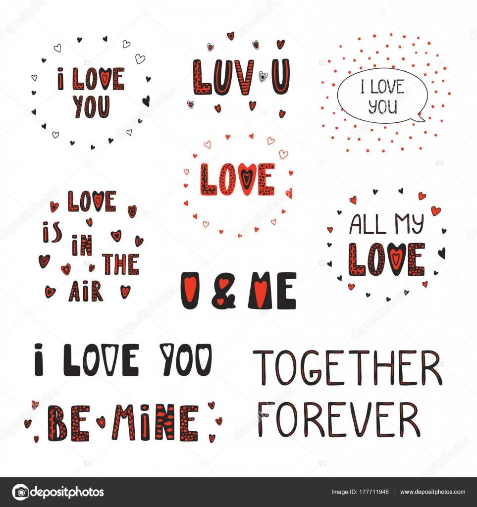 Kolekcja Typograficzne Cytaty Miłości Serca Walentynki Karty