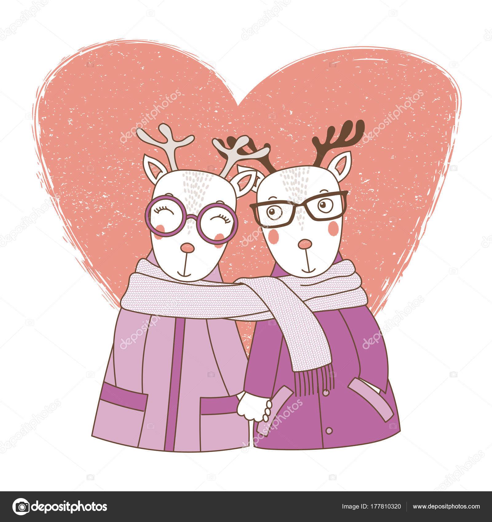 手を手を取り合ってのコートかわいい面白い鹿のカップルの描画ベクトル