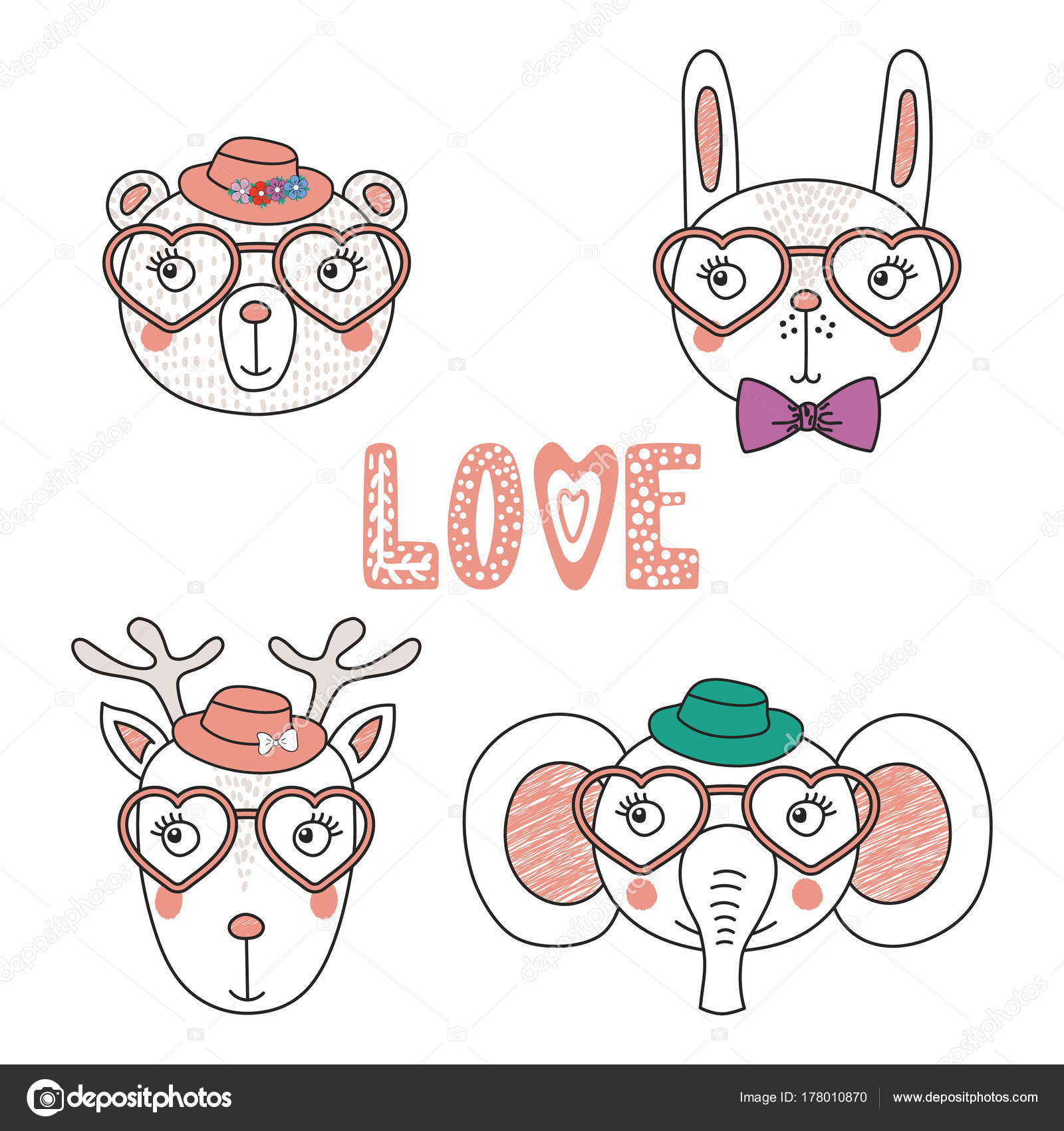 52a30bcce3 Χαριτωμένα ζώα σε σχήμα καρδιάς γυαλιά — Διανυσματικό Αρχείο ...