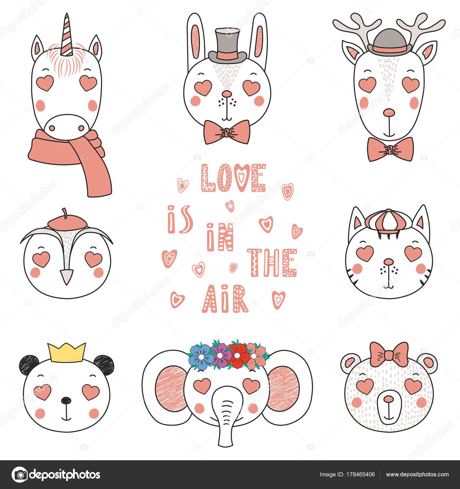 かわいいハート型の目 バレンタインの日の概念を変な動物の手描き肖像画