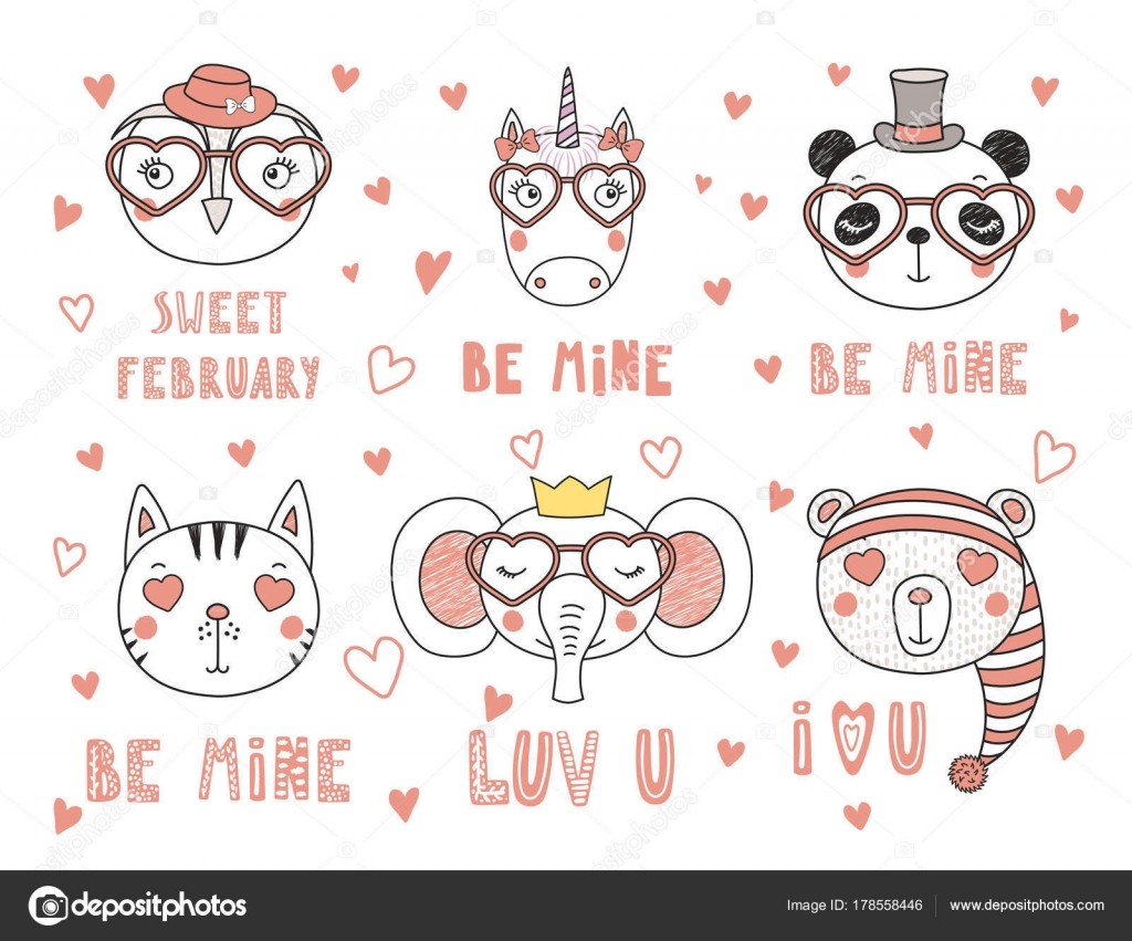 Valentines Day Card Set Hand Drawn Portraits Cute Funny Animals
