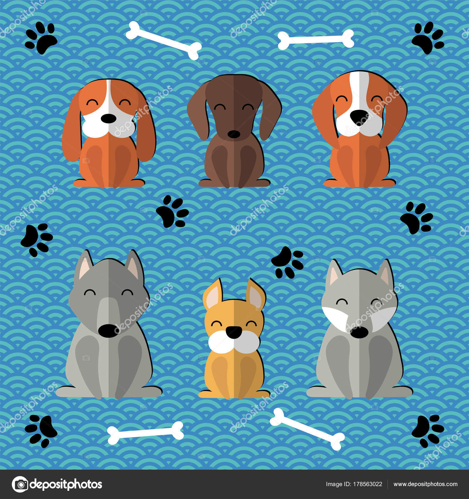 Collection paper cut cute funny cartoon dogs different breeds vector collection of paper cut cute funny cartoon dogs of different breeds vector illustration vector by mariaskrigan voltagebd Images