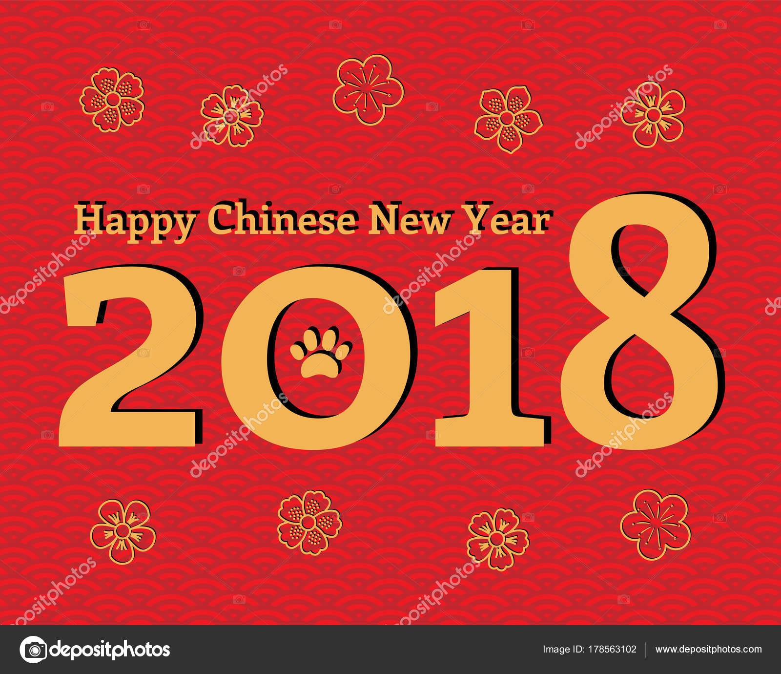 2018 chinese new year greeting card numbers dog paw print stock 2018 chinese new year greeting card numbers dog paw print stock vector m4hsunfo