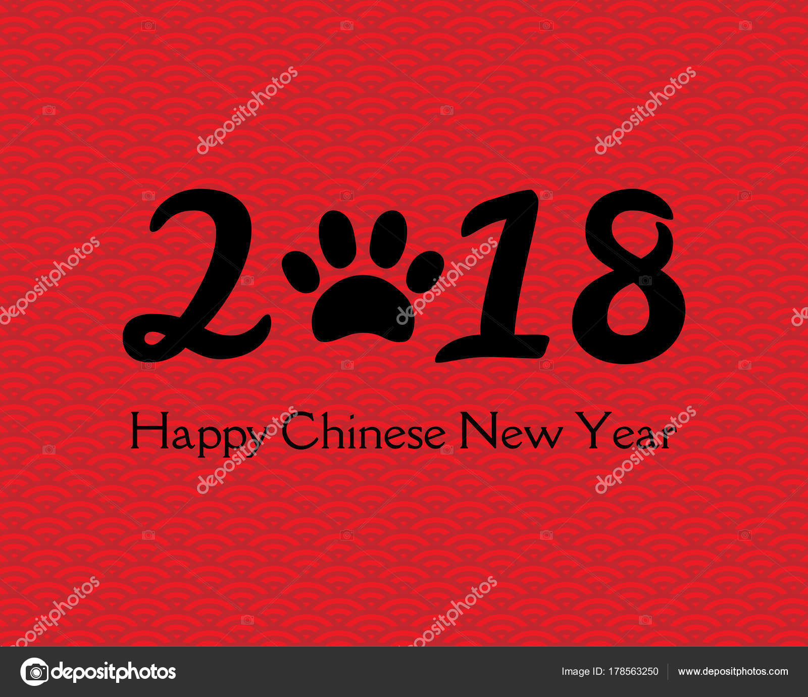 2018 chinese new year greeting card numbers dog paw print stock vector