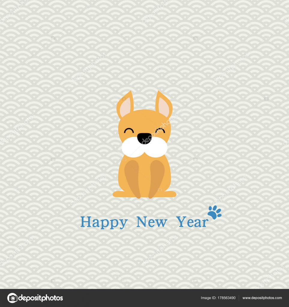 2018 Chinese New Year Minimalistic Greeting Card Cute Funny Dog