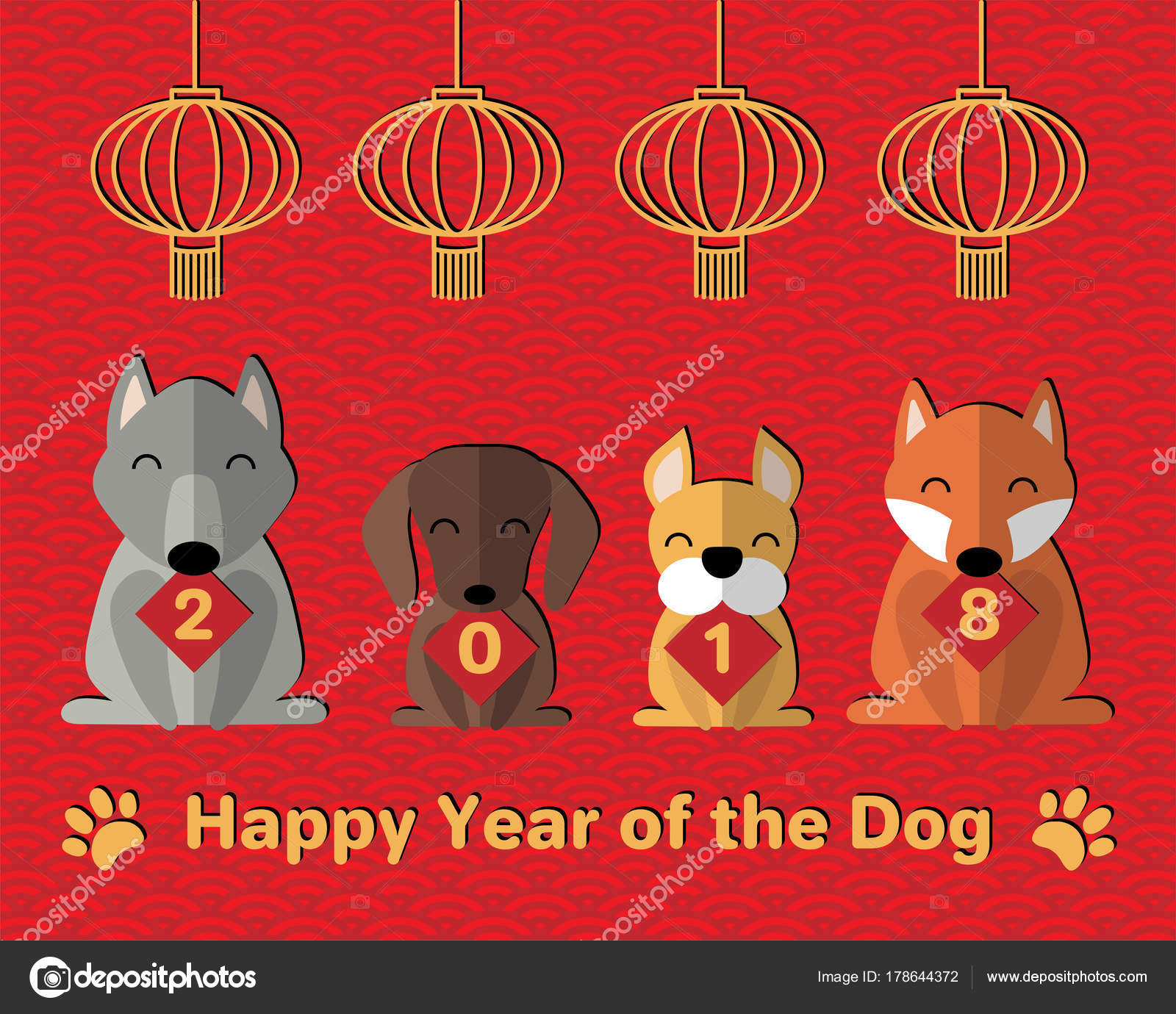 2018 Chinese New Year Greeting Card Cute Funny Cartoon ...