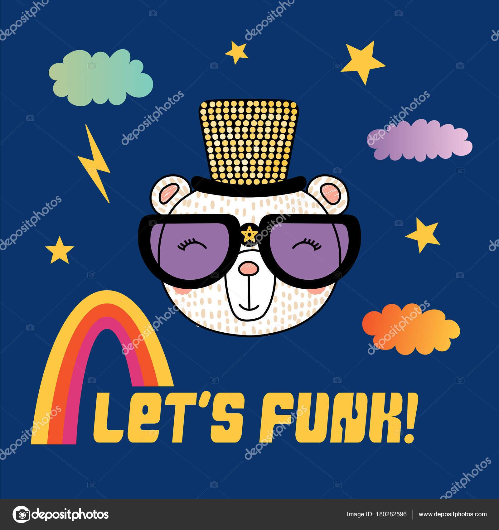 059cc0a3dc Χέρι Που Χαριτωμένα Αστεία Κινούμενα Σχέδια Αρκούδα Funky Καπέλο Και — Διανυσματικό  Αρχείο