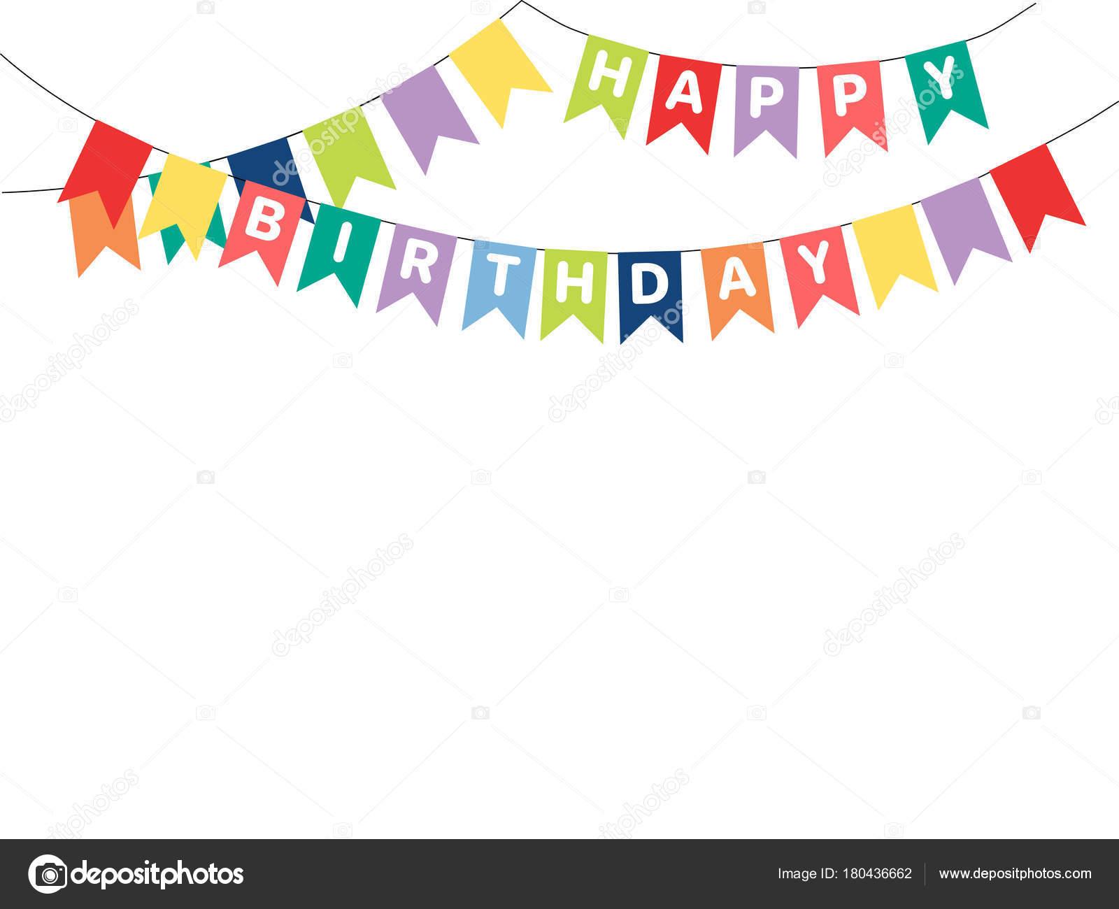 手描きフラグ ベクトル イラストに書かれたお誕生日おめでとう文字