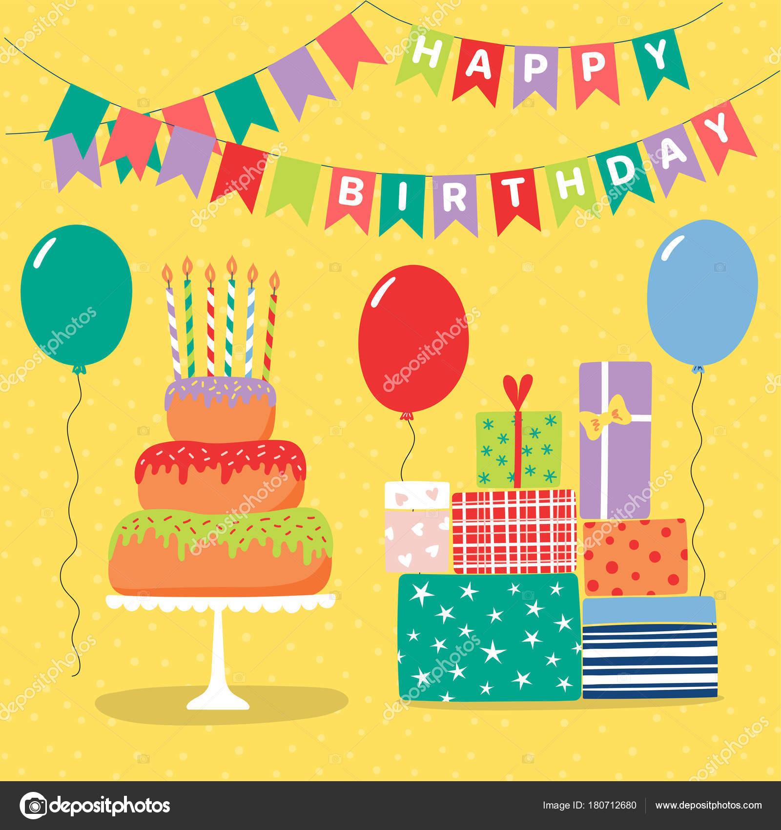 Awe Inspiring Hand Drawn Birthday Card Cartoon Layer Cake Presents Balloons Funny Birthday Cards Online Sheoxdamsfinfo