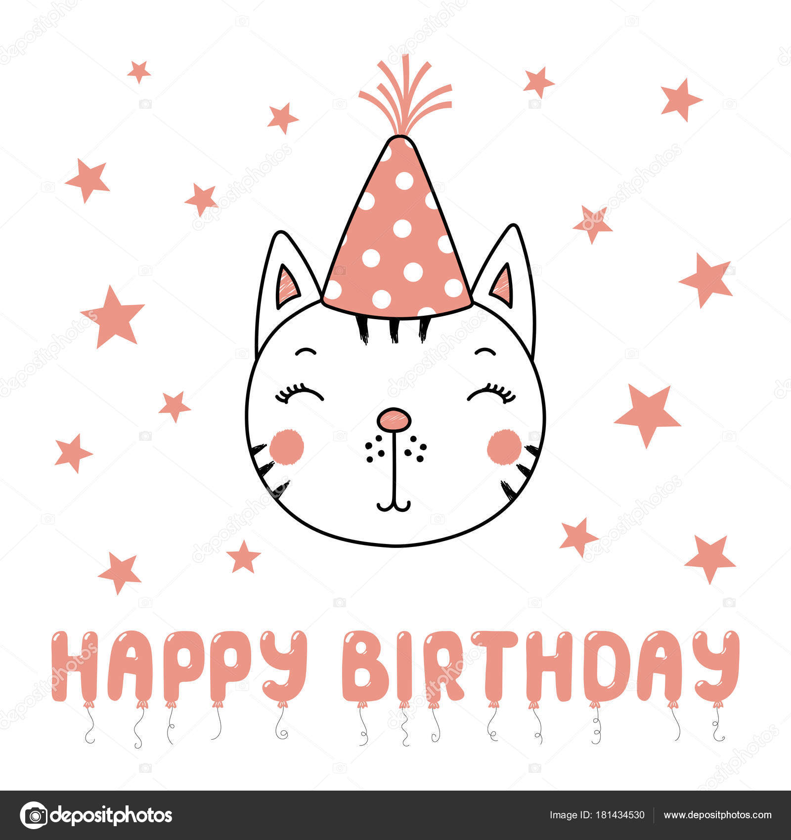 Hand Drawn Cute Funny Cat Party Hat Text Happy Birthday Stock Vector