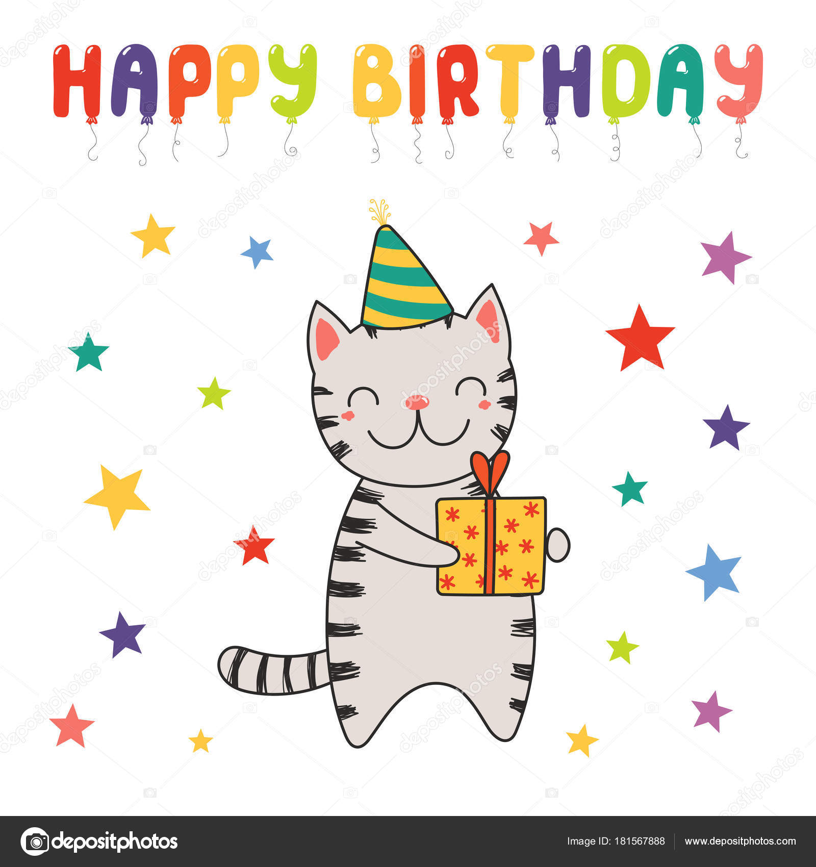 Happy Birthday Greeting Card Hand Drawn Cute Funny Cartoon Cat Stock Vector