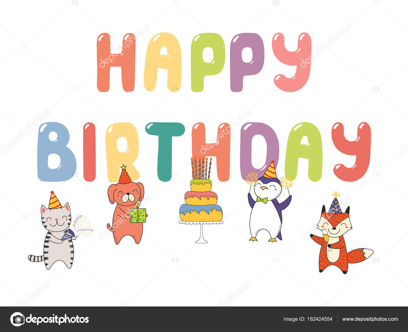 Hand drawn happy birthday greeting card cute funny cartoon animals hand drawn happy birthday greeting card cute funny cartoon animals stock vector kristyandbryce Image collections