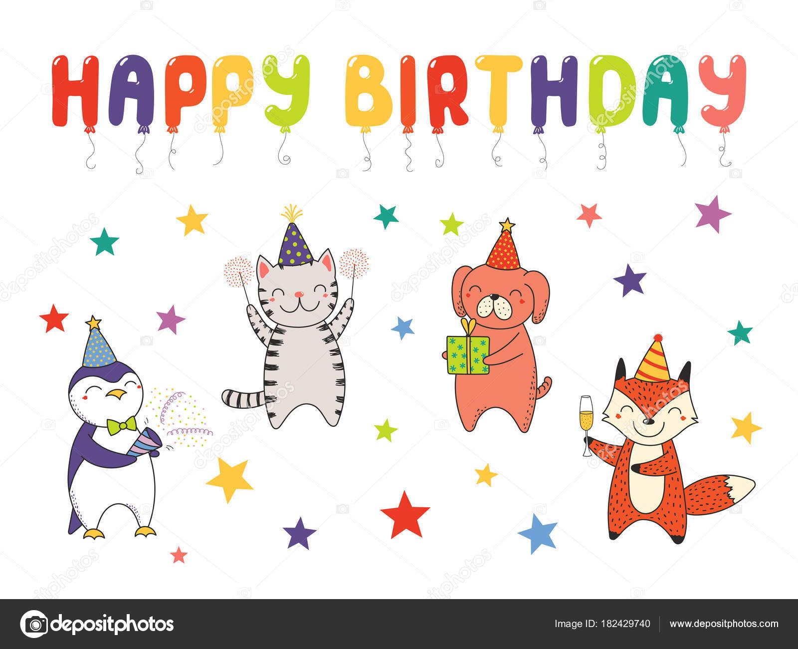 Disegnato Mano Auguri Buon Compleanno Con Animali Svegli Del Fumetto