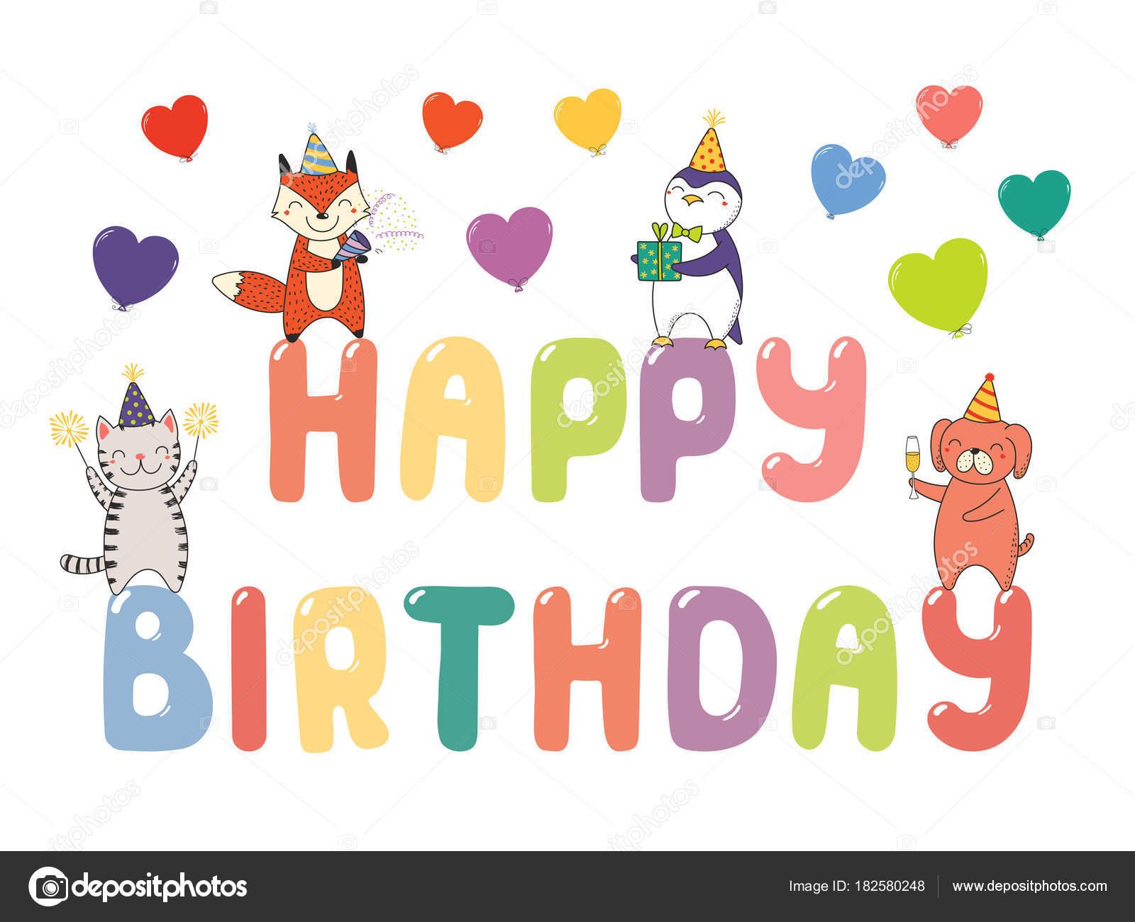 Disegnato Mano Auguri Buon Compleanno Con Animali Carino Divertente