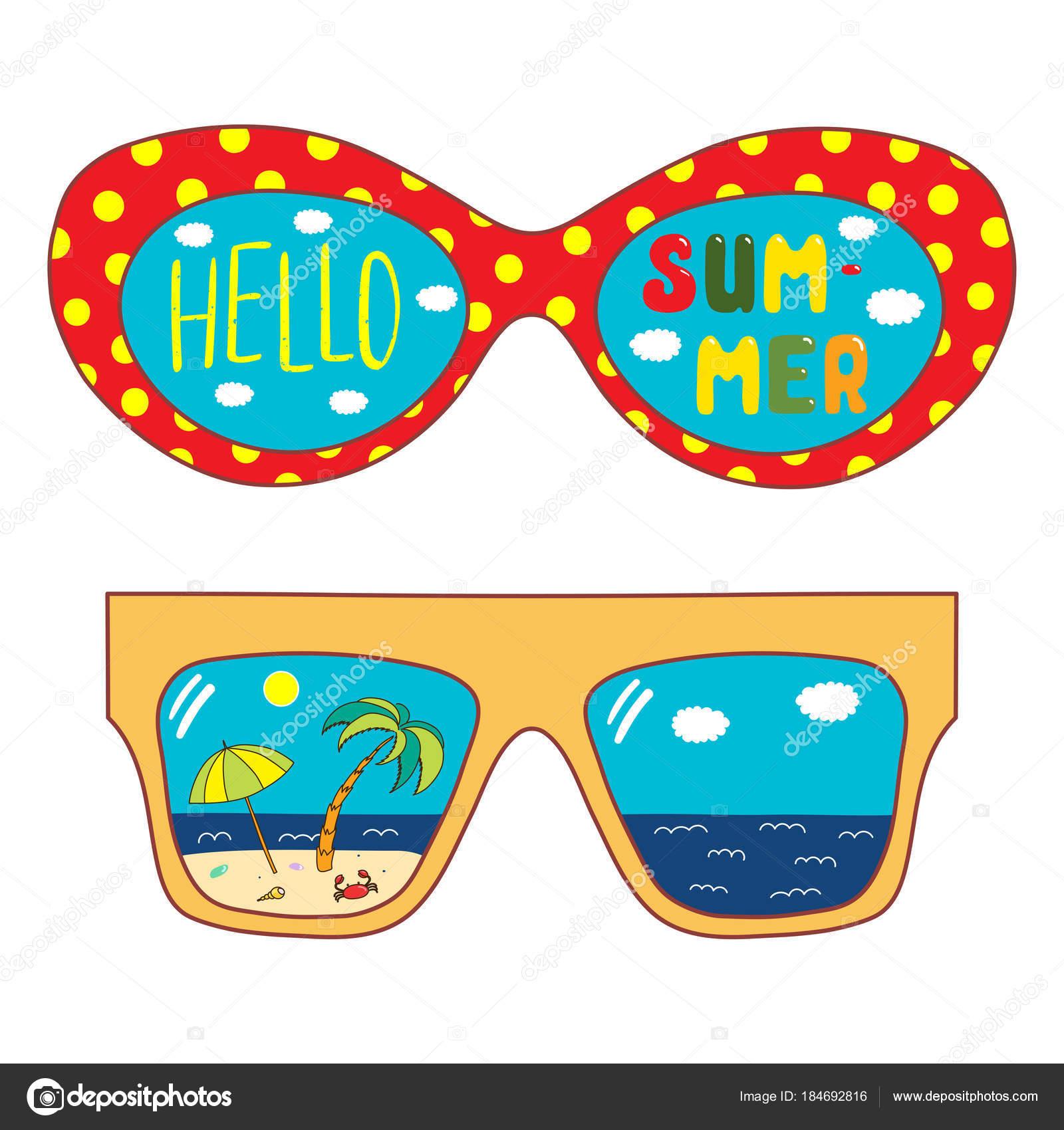 Hand Drawn Oversized Sunglasses Text Hello Summer Beach ...