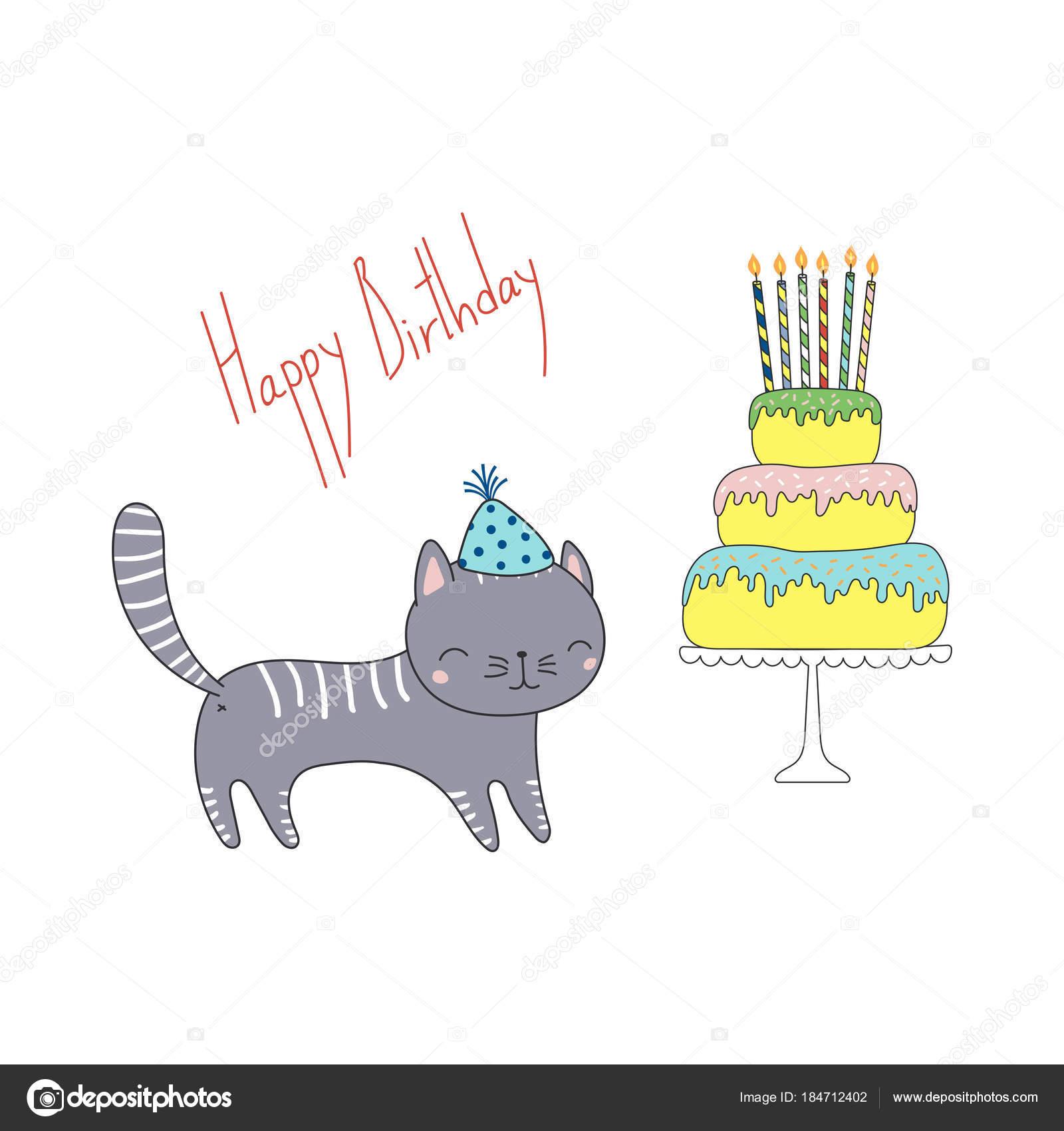 Hand drawn happy birthday greeting card cute funny cartoon cat hand drawn happy birthday greeting card cute funny cartoon cat stock vector m4hsunfo