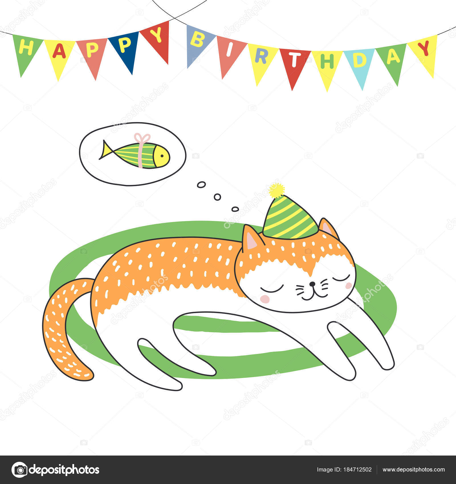 Hand Drawn Happy Birthday Greeting Card Cute Funny Cartoon Cat