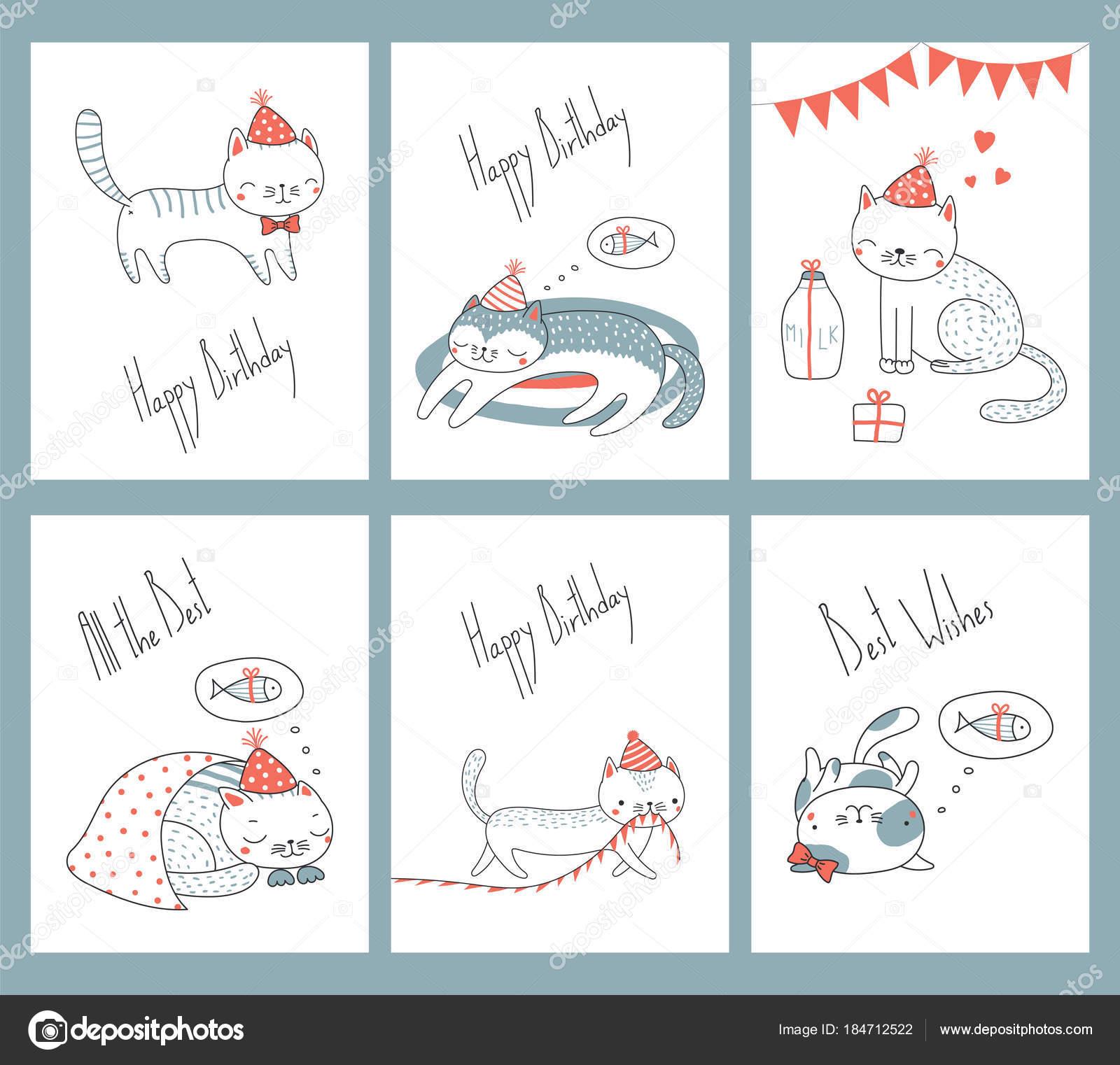 Conjunto Plantillas Tarjeta Cumpleaños Dibujado Mano Con Los Gatos ...