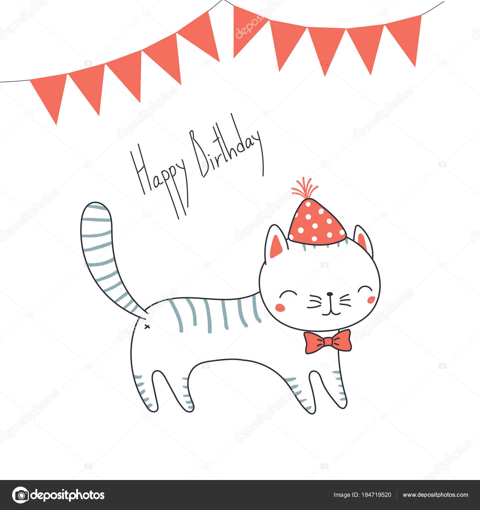 Hand drawn happy birthday greeting card cute funny cartoon cat hand drawn happy birthday greeting card cute funny cartoon cat stock vector kristyandbryce Image collections