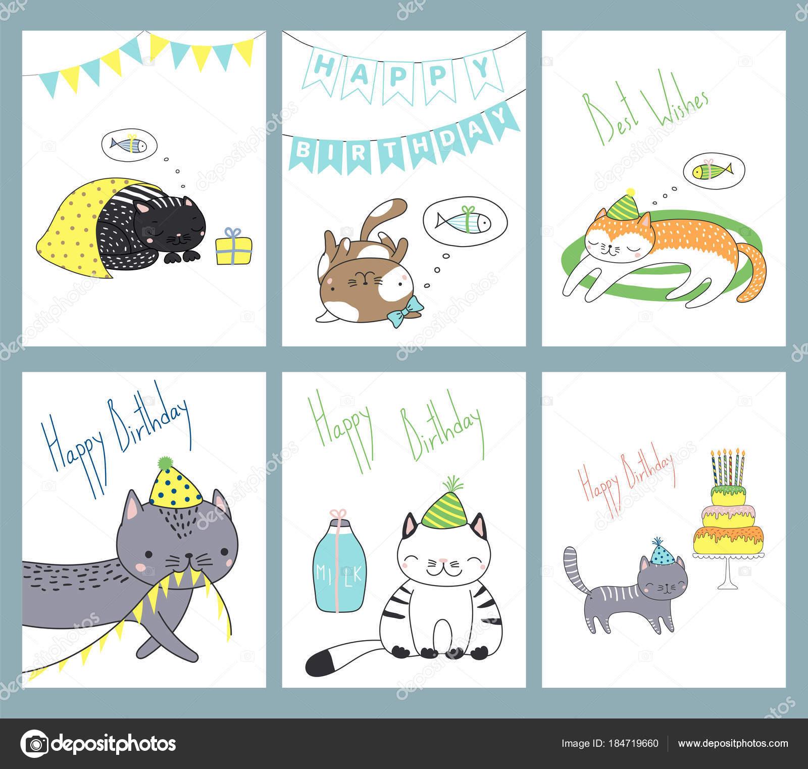 Set Hand Drawn Birthday Card Templates Cute Funny Cartoon Cats Stock Vector