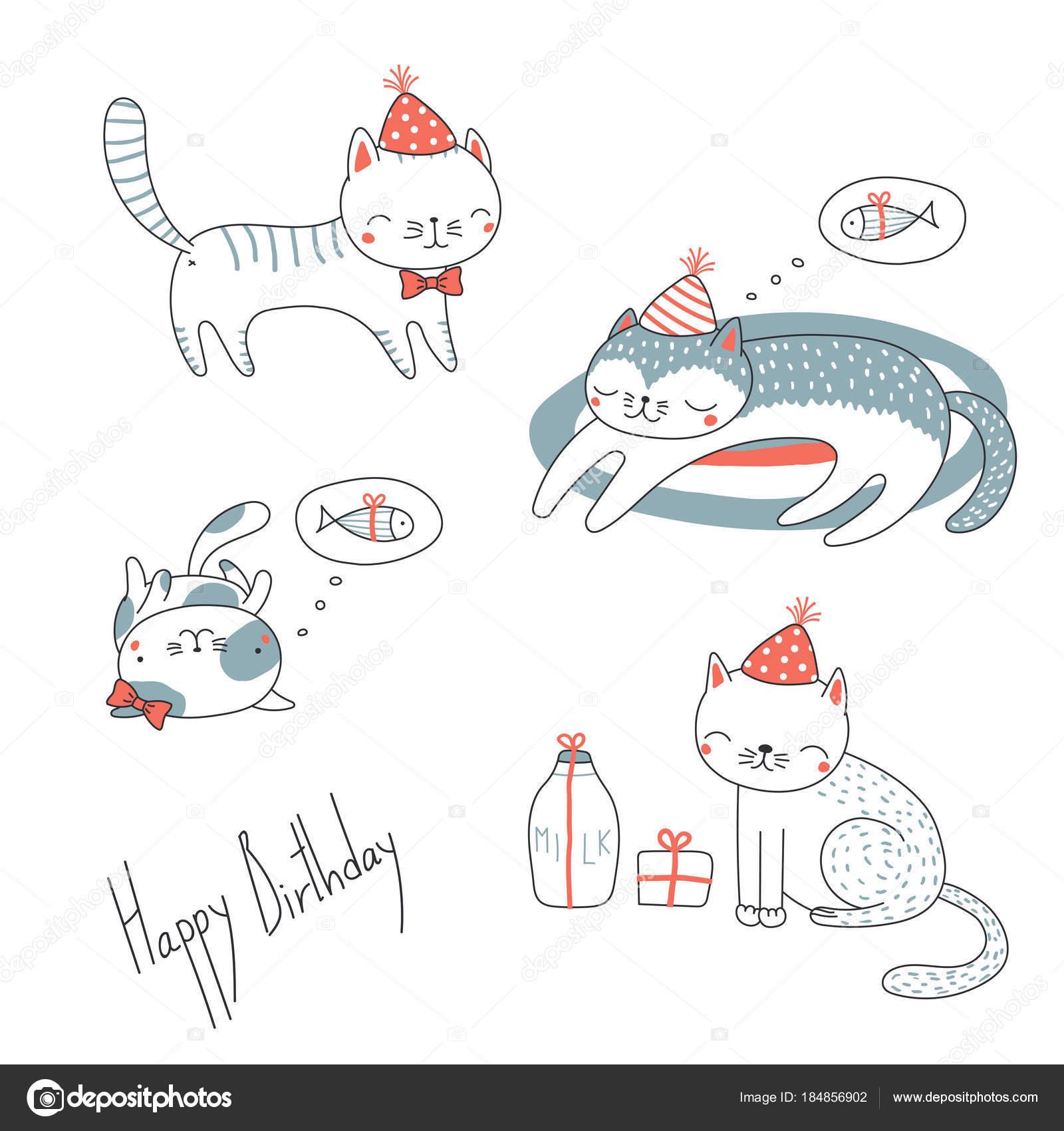Imágenes Gatos Para Dibujar Faciles Dibujado Mano Tarjeta