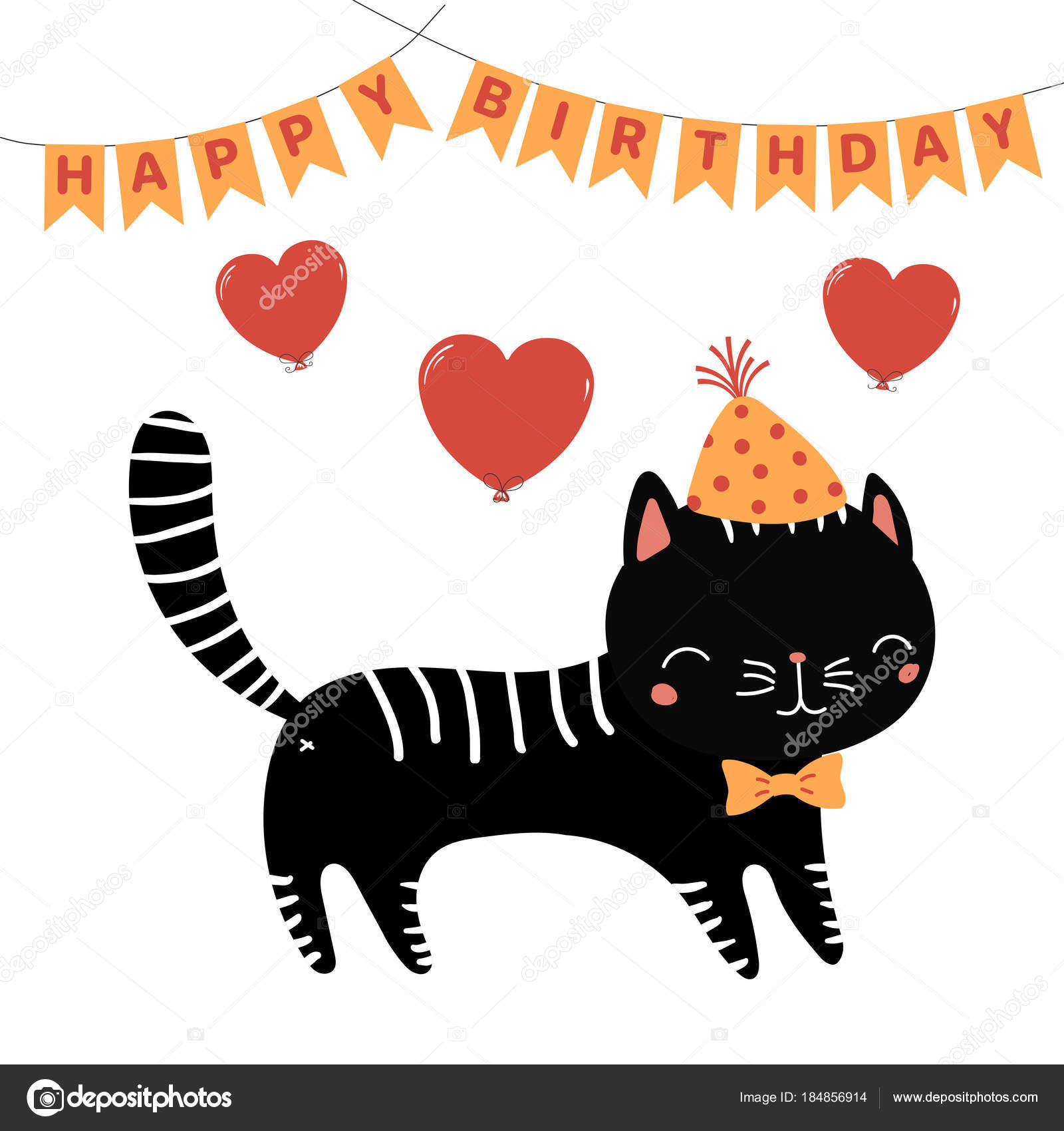 Hand Drawn Happy Birthday Greeting Card With Cute Funny Cartoon Cat In Party Hat And Bow Tie Bunting Vector Illustration By