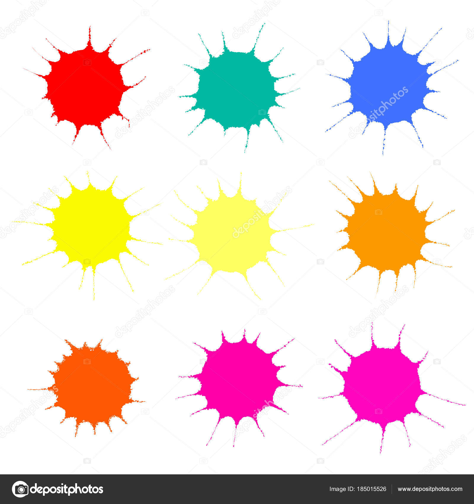 Collection Colorful Paint Splashes Isolated White Background Vector
