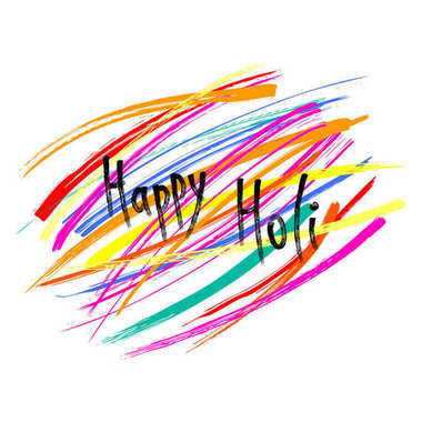 Holi greeting card with colorful brush strokes isolated on white background, vector, illustration stock vector
