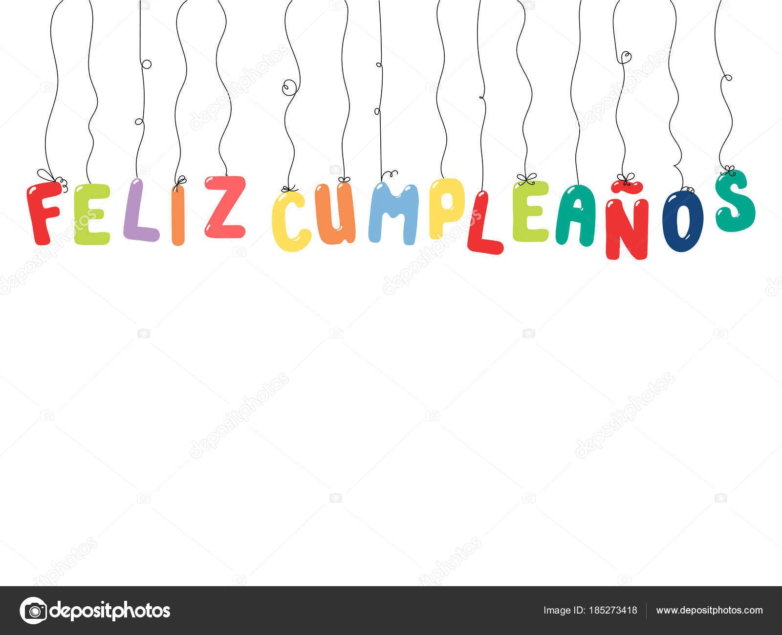 Tarjeta cumplea os dibujado mano con globos colores for Formas de letras para cumpleanos
