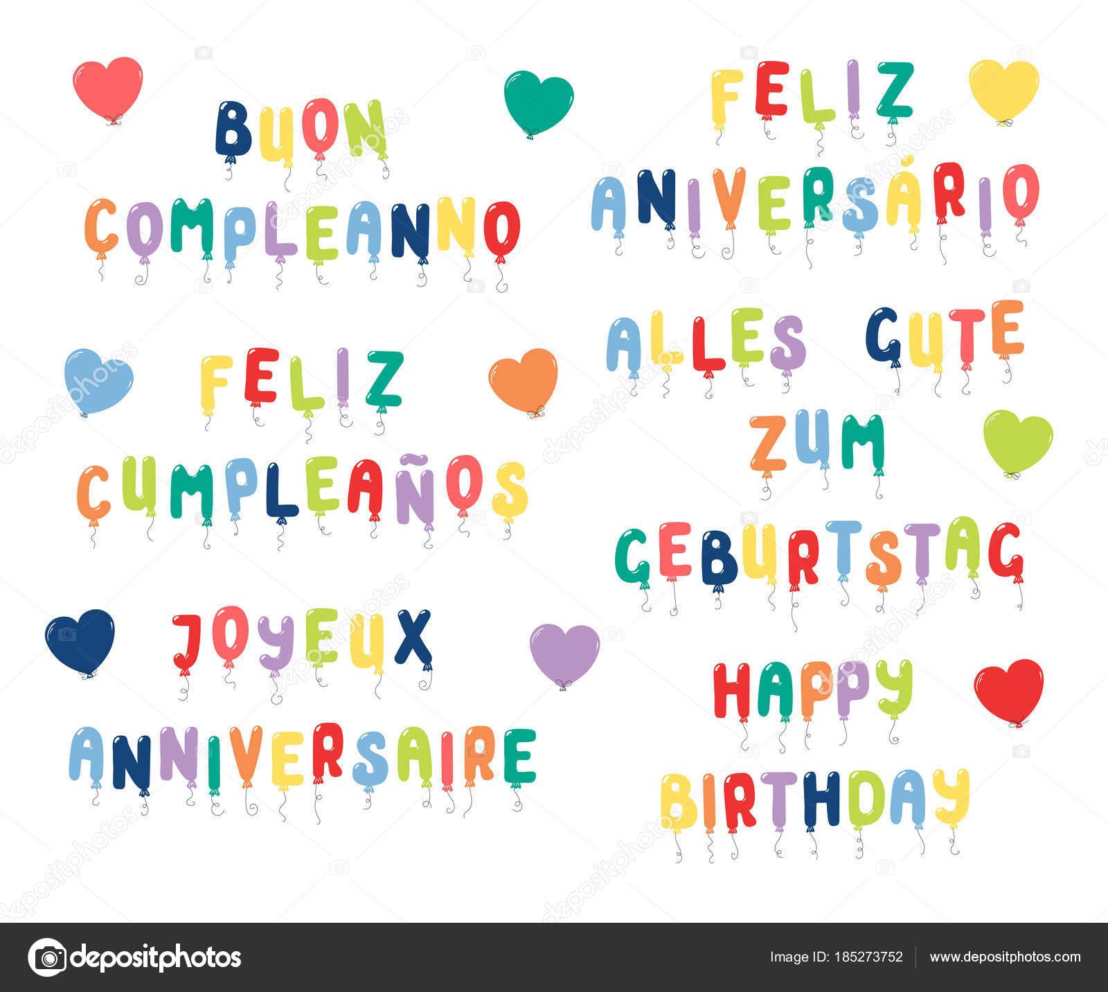 Set Happy Birthday Quotes Made Balloons Different Languages Vector Illustration Stock