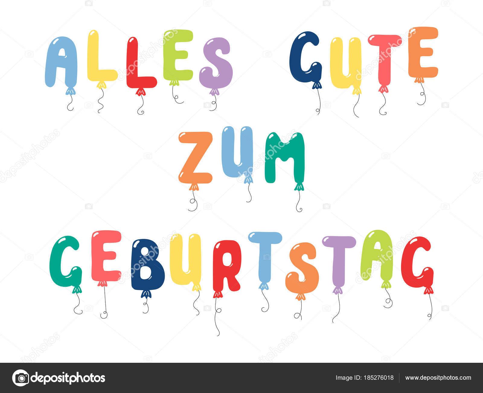 všechno nejlepší k narozeninám německy Ručně Tažené Přání Narozeninám Barevnými Balónky Řetězce Tvaru  všechno nejlepší k narozeninám německy