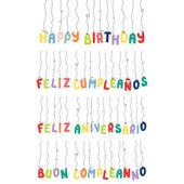 Fényképek Boldog születésnapot idézetek halmaza készült lóg léggömbök, a különböző nyelvek, vektor, ábra