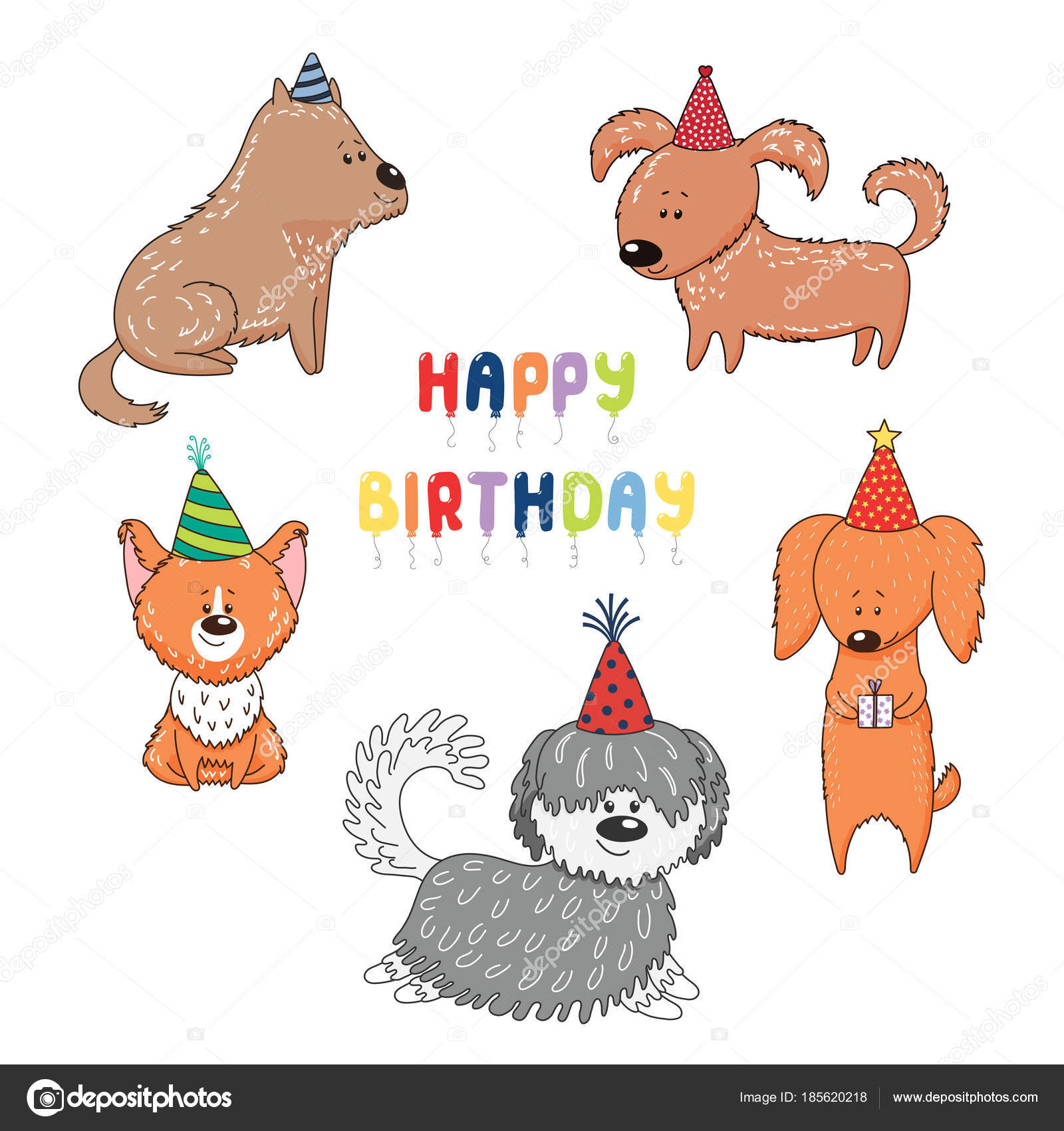 Hand Drawn Cute Funny Cartoon Dogs Party Hats Text Happy Stock Vector