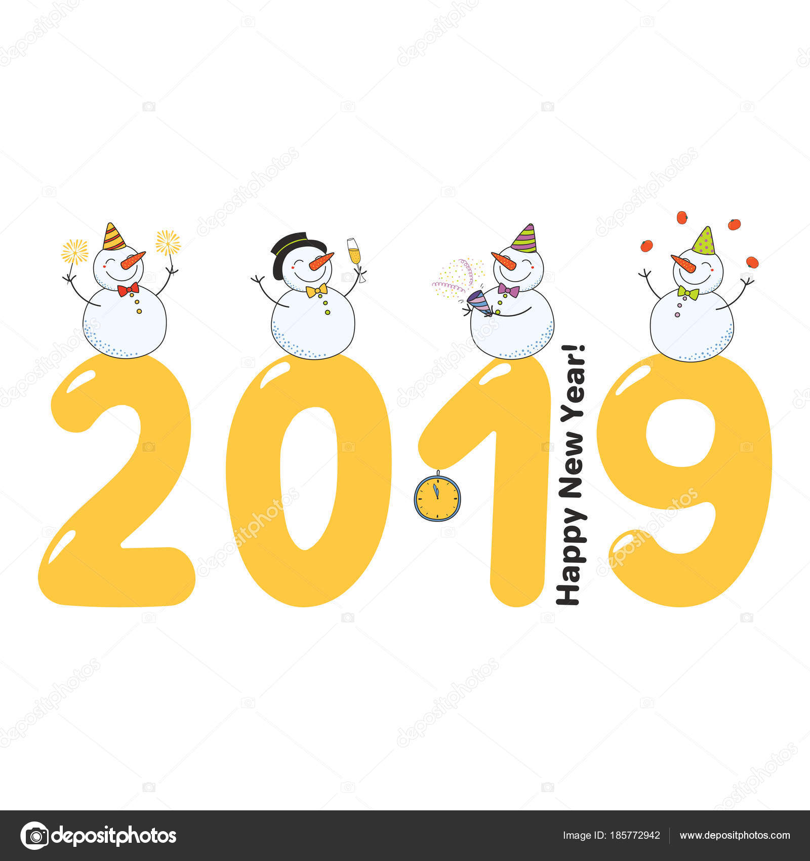 Hand Drawn Happy New Year 2019 Greeting Card Cute Funny — Stock ...