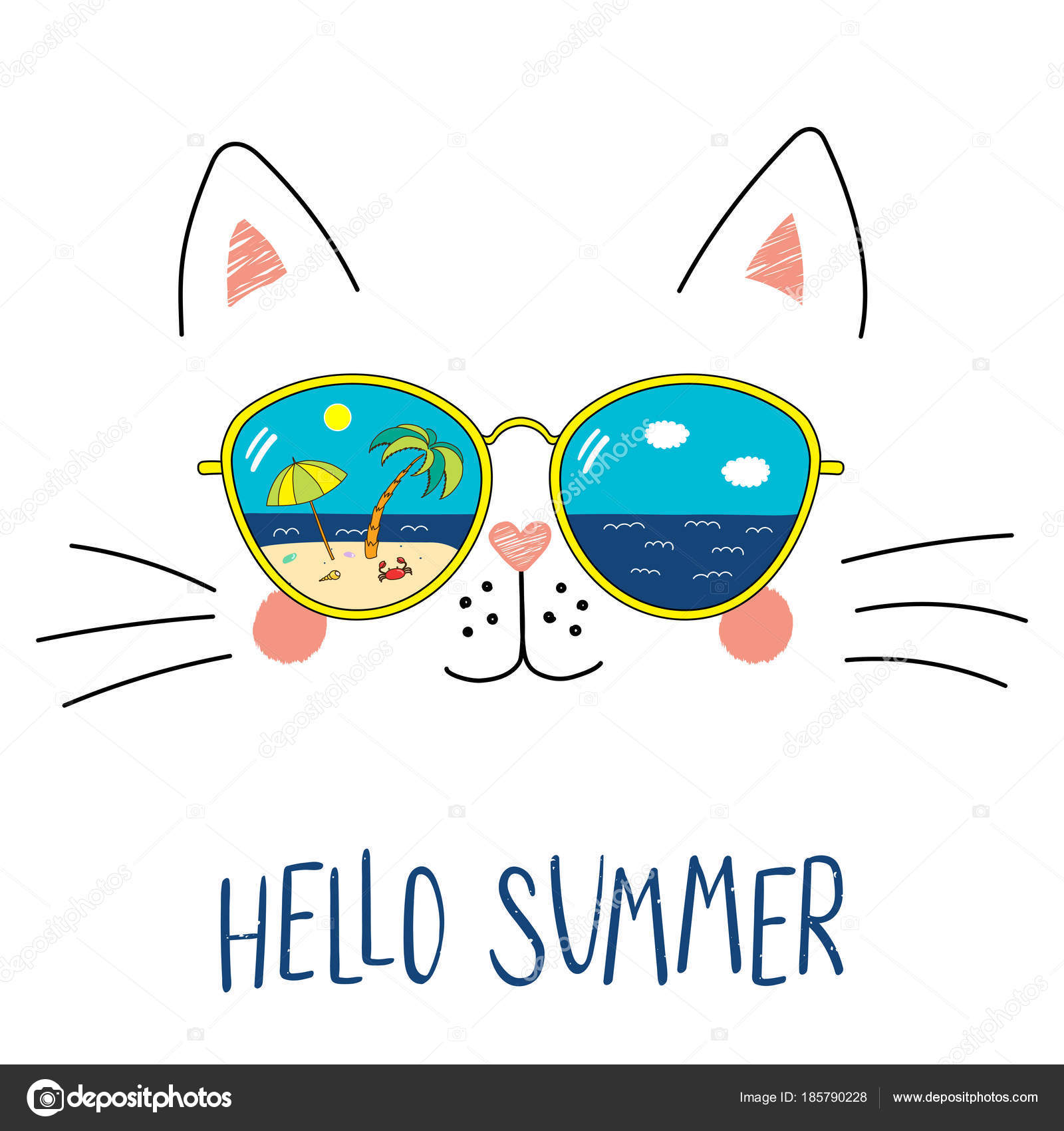 efe8628ec222cb Chat drôle de main dessinée dessin animé mignon dans lunettes de soleil  avec reflet scène plage et texte Bonjour Summer, vecteur, illustration–  illustration ...