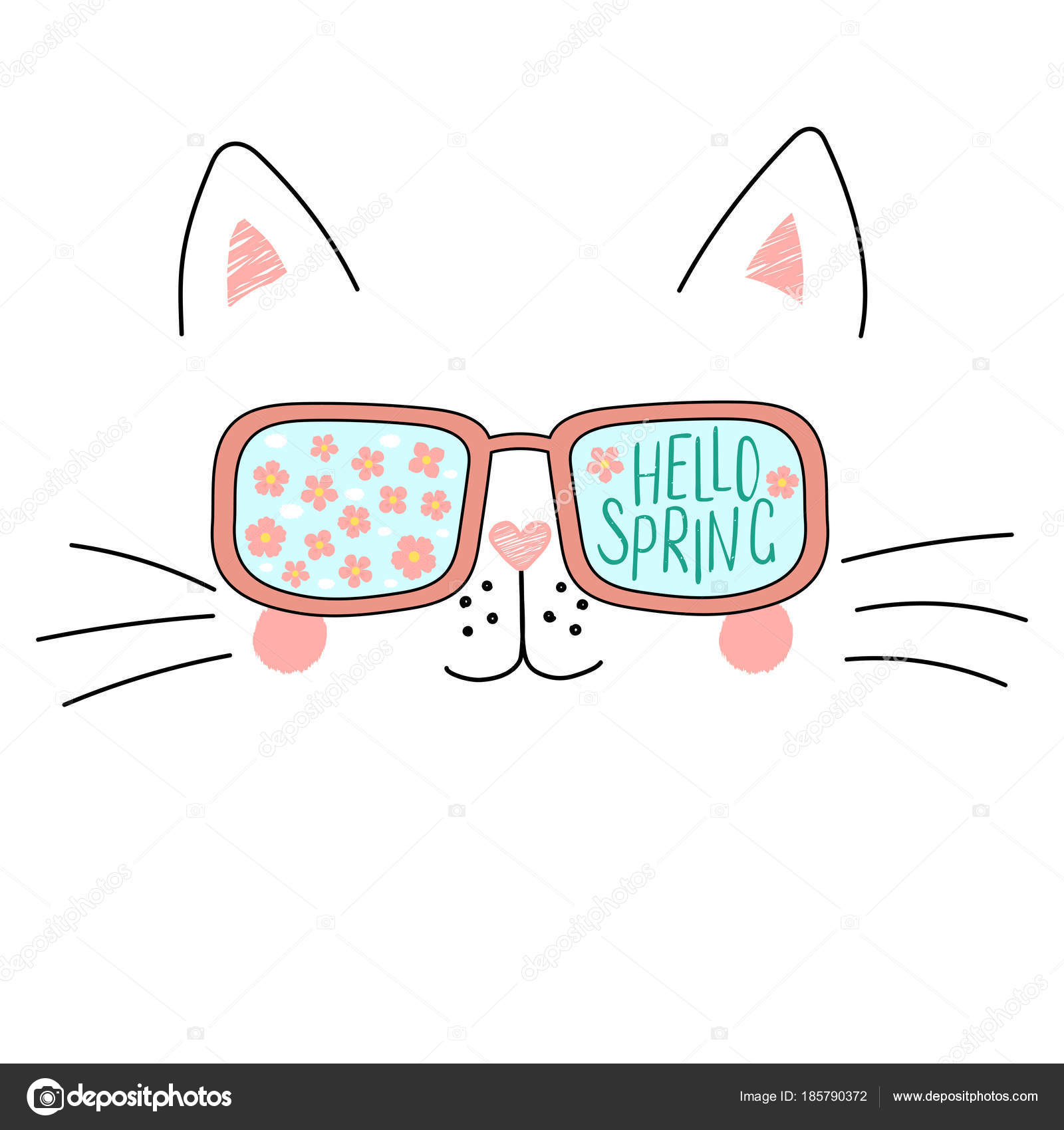 Mano Dibujada Cute Dibujos Animados Gracioso Gato Gafas Sol Con ...