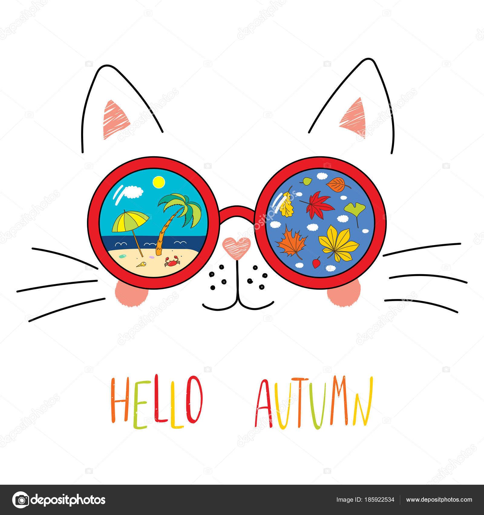 9f1d53246a Mano dibuja lindo dibujos animados gracioso gato en gafas de sol con escena  de playa reflejada y caer las hojas dentro de las lentes con el texto Hola  otoño ...