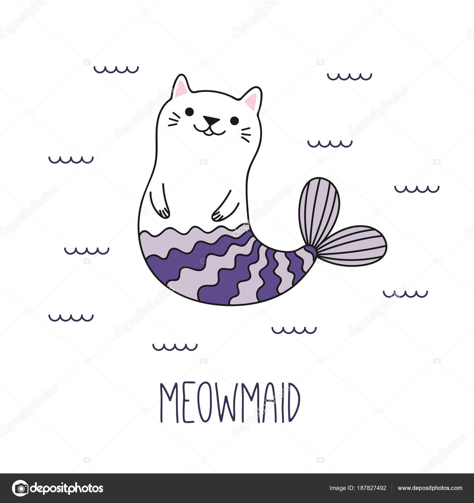 手描きかわいい面白い猫人魚海 ベクトル イラストで泳いで ストック