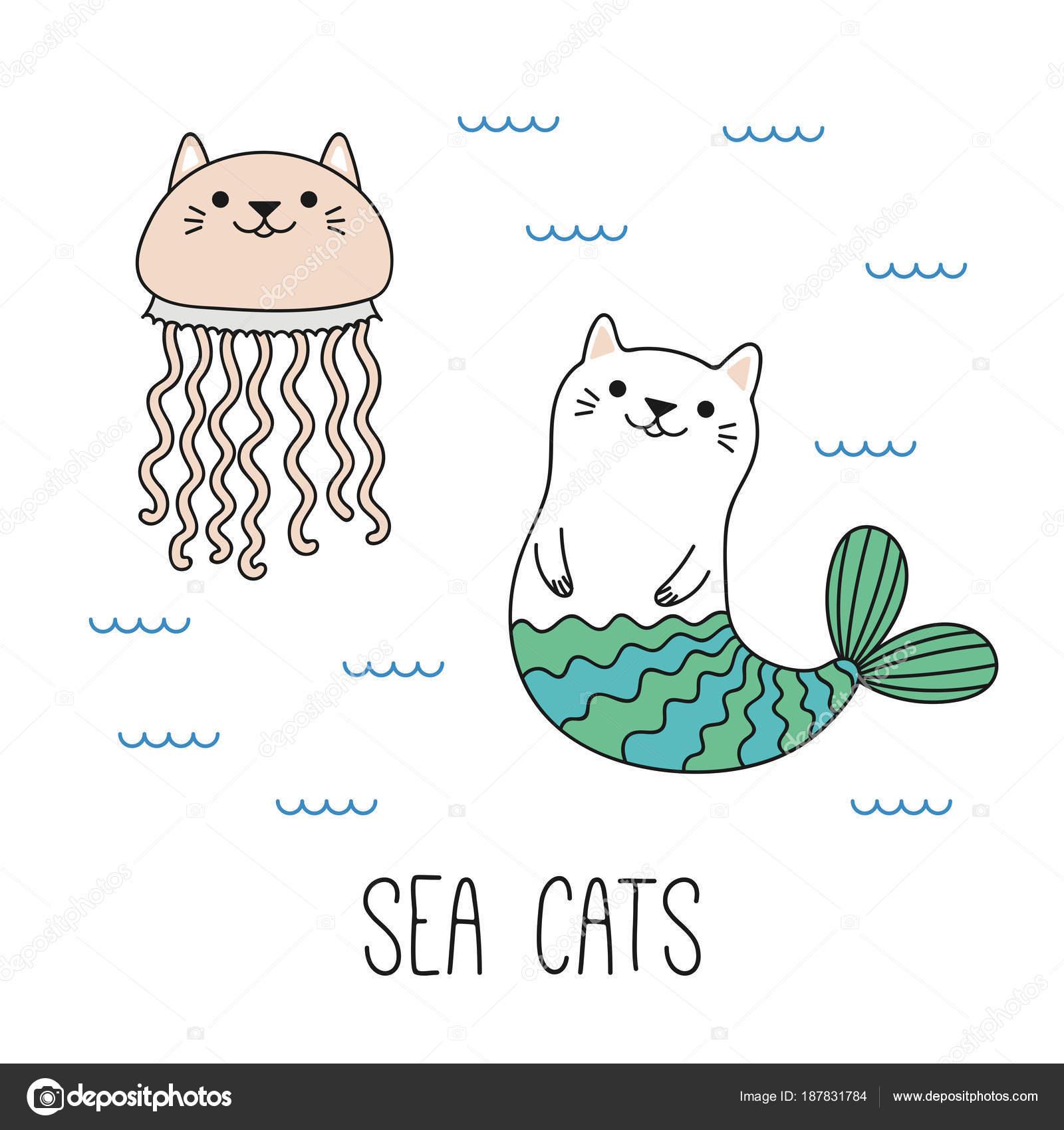 手描きかわいい面白い猫人魚と海 ベクトル イラストで泳ぐクラ