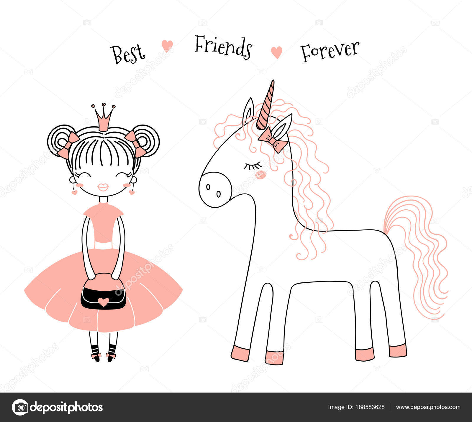 Hand Drawn Vector Illustration Of A Cute Little Princess In A Pink Dress  And A Unicorn, With Text. Isolated Objects On White Background. Line  Drawing.