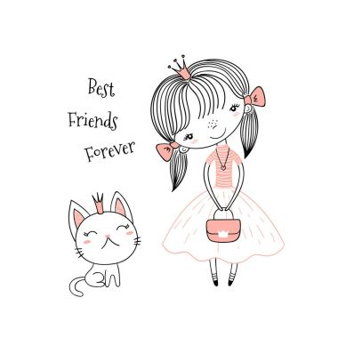 Hand drawn vector illustration of a cute little princess in a pink dress and a kitten, with text. Isolated objects on white background. Line drawing. Unfilled outline. Design concept for kids print.