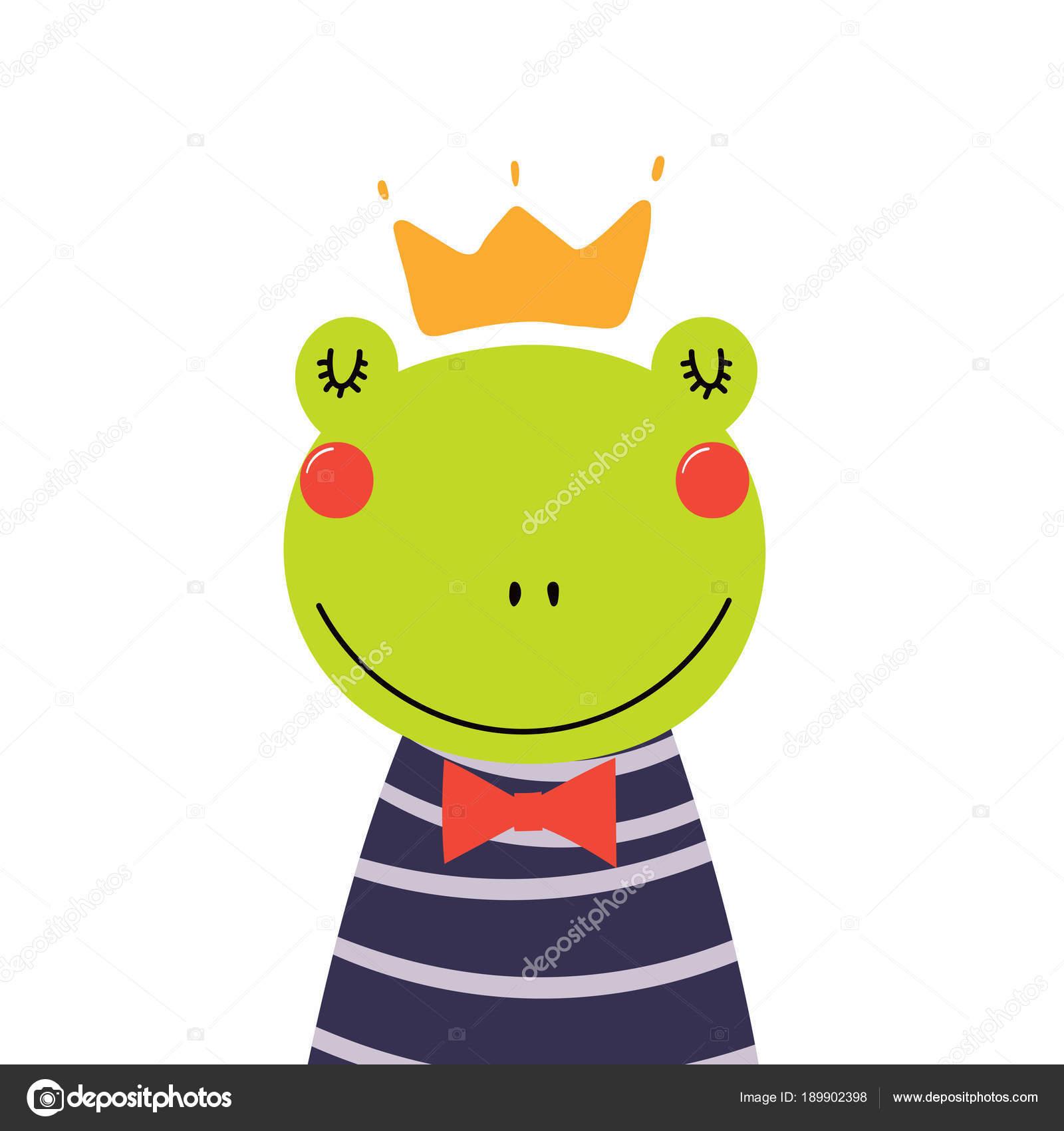 Mano disegnato carino divertente principe ranocchio camicia corona