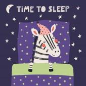 Fényképek kézzel készített aranyos vicces zebra alvás a lefekvés, párna és takaró idézet ideje aludni skandináv stílusban, koncepció a gyermekek nyomtatási, vektor, ábra